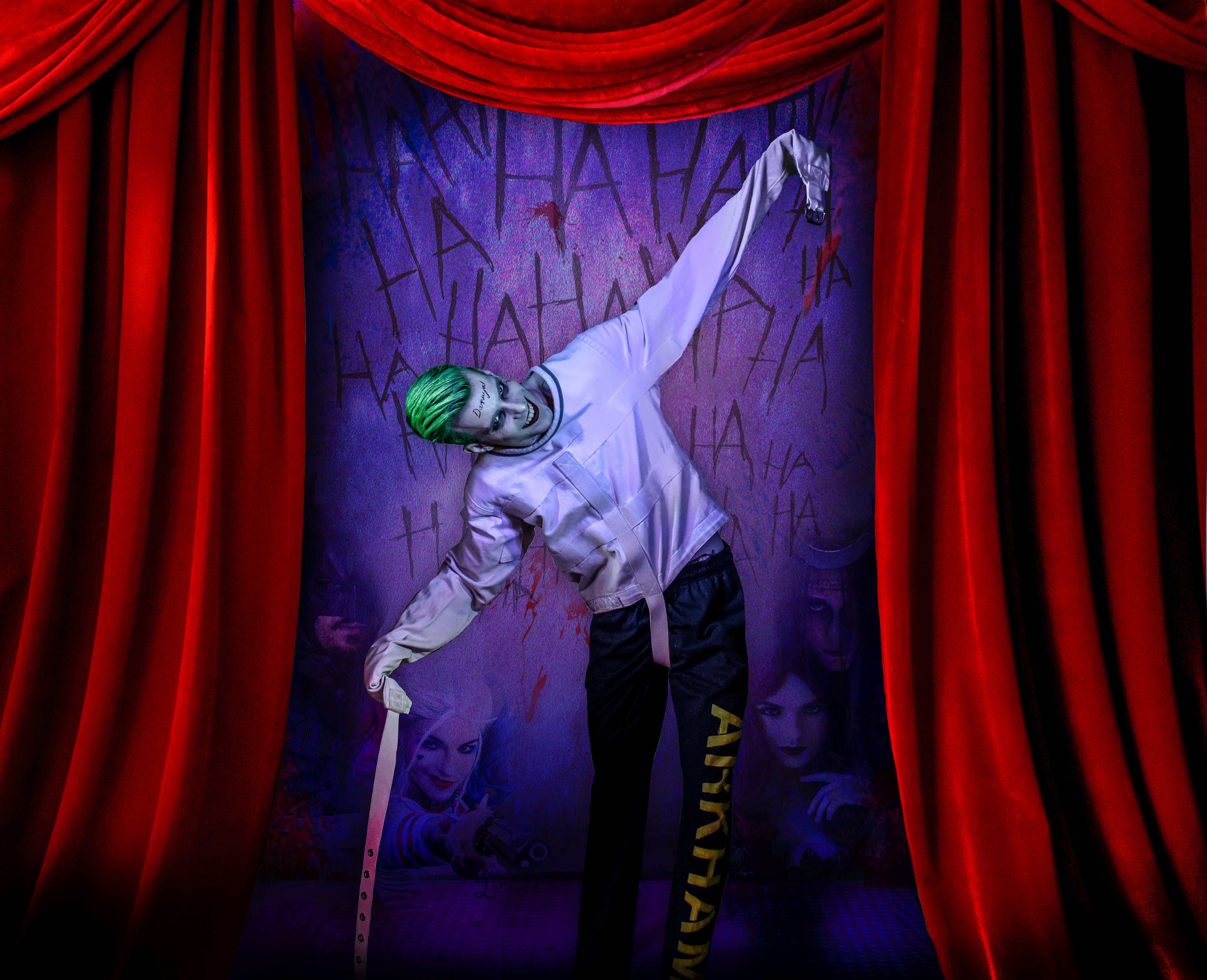 The Joker Suicide Squad Movie 2016 With Lushes Curtains