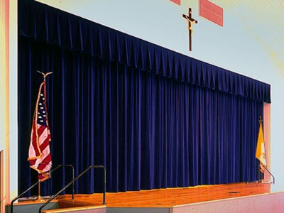 Church School Stage Blue Velvet Curtains Staging Drapery