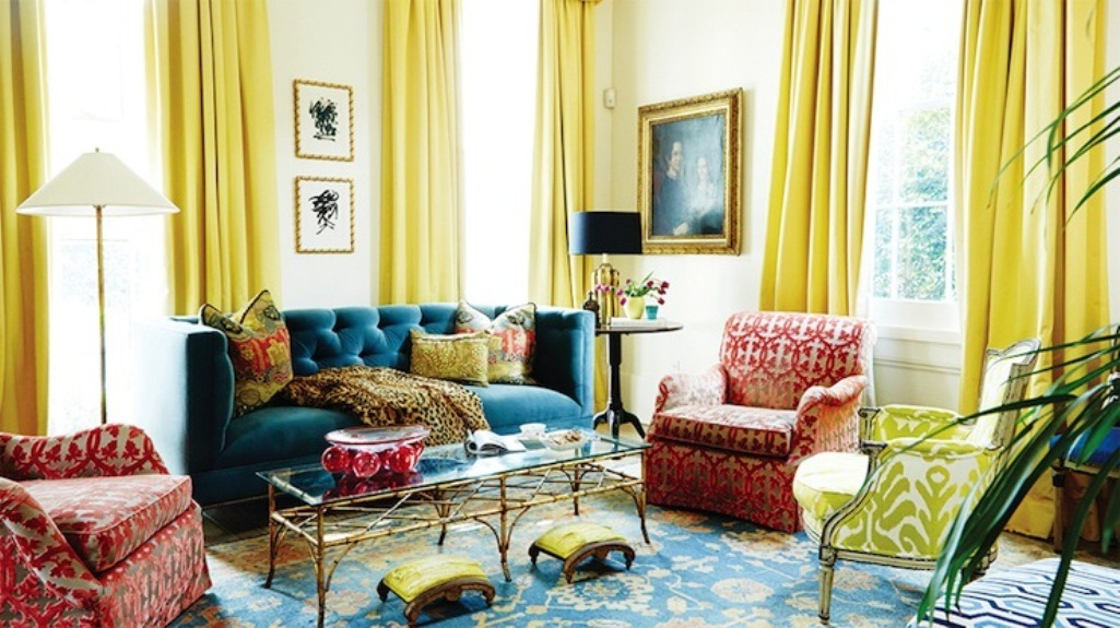 Beautiful Yellow And Blue Living Room Curtains | Thecreativescientist.com XZ68